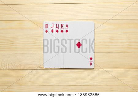 diamonds Royal Flush poker combination play cards