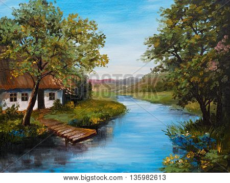 Oil Painting - Farmhouse near the river river blue blue sky summer forest green field full of flowers pier near river outdoor; wallpaper