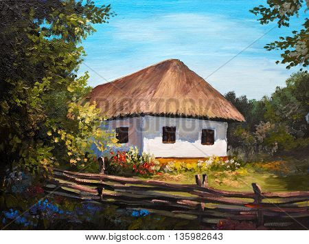 Oil Painting - Farmhouse in the forest sunshine