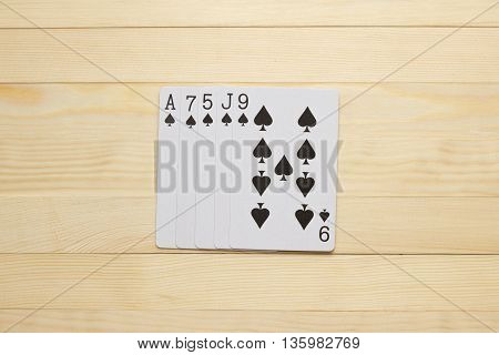 spades Flush poker combination play cards object
