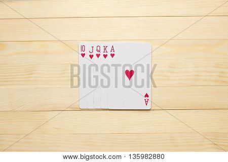 hearts Royal Flush poker combination play cards