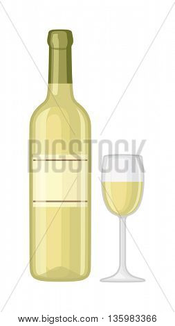 Glass and bottle of wine vector illustration.