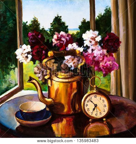 Oil Painting - still life a bouquet of flowers clock and kettle on table