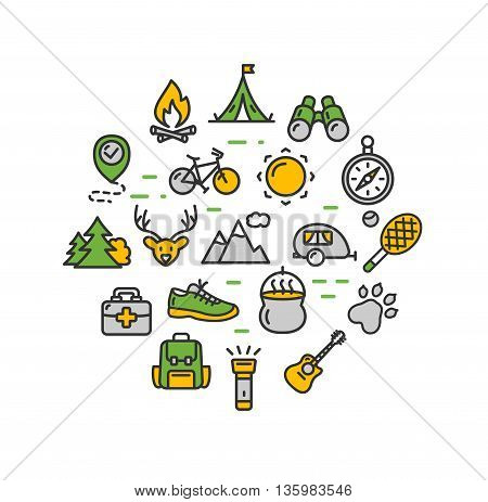 Camping Tourism Colorful Hiking Round Design Template Thin Line Icon Set Isolated on White Background. Vector illustration