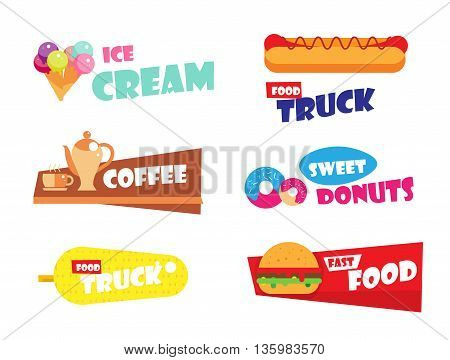 Set of Ice cream logo, burger, hot dog, fast food label for bakery menu, cafe, restaurant. Sweet donuts emblem template. Coffee badge, corn logo