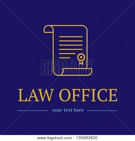 Law office logo. The judge, Law firm logo template, lawyer icon of vintage labels. Gold line badge roll and. Dura lex, sed lex quote. On blue background