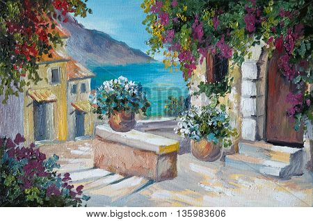 oil painting on canvas - beautiful houses and stairs near the sea abstract drawing street wall color