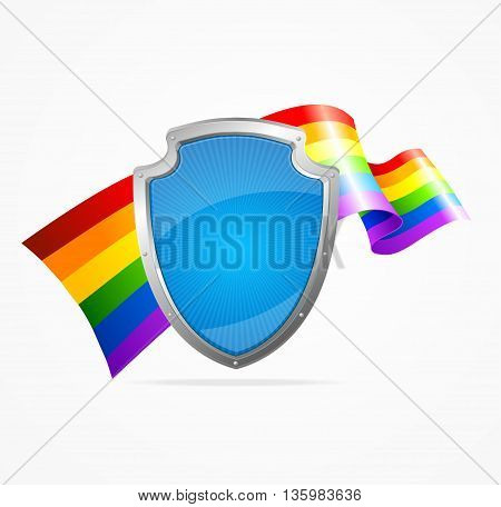 Lgbt Flag and Shield Isolated on White Background.Symbol Of Protection. Vector illustration