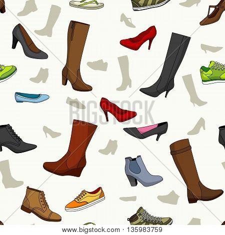 Seamless pattern with some nice women shoes