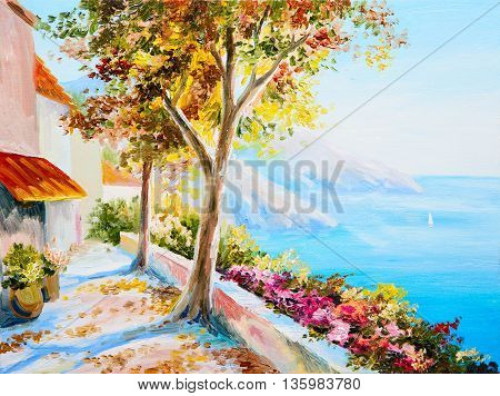 painting - house near the sea seascap colorful impressionism