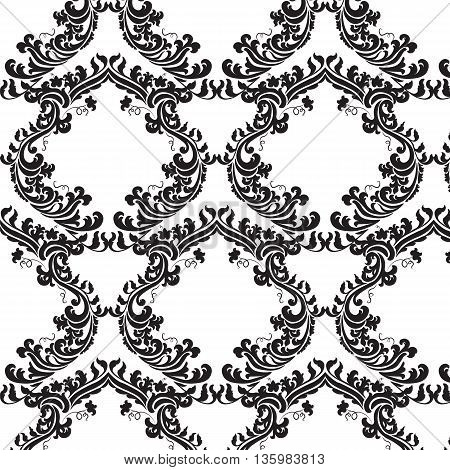 Vector floral damask pattern background. Royal Victorian texture. Classical luxury vintage damask ornament for textile fabric wrapping. Delicate floral baroque template. Black color