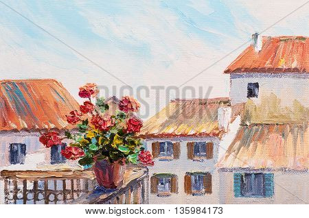 oil painting of  flowers on the rooftops