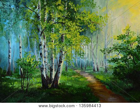 oil painting landscape - birch forest abstract drawing made in the style of Impressionism wallpaper; tree; decoration