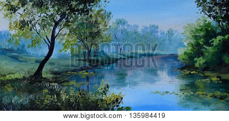 Oil Painting of forest landscape - pond in the forest. Abstract drawing outdoor; leaves