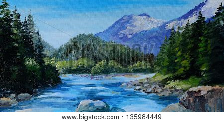Oil Painting - mountain river rocks and forest abstract drawing wallpaper; tree; decoration