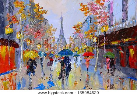 Oil painting of eiffel tower in france