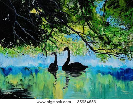 Swans on the lake abstract drawing art work