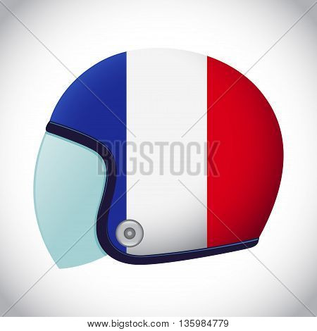 Vector stock of retro classic motorcycle helmet with France flag