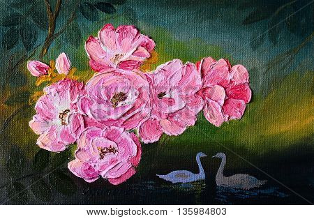 Oil painting landscape - abstraction swans pink colorful swans