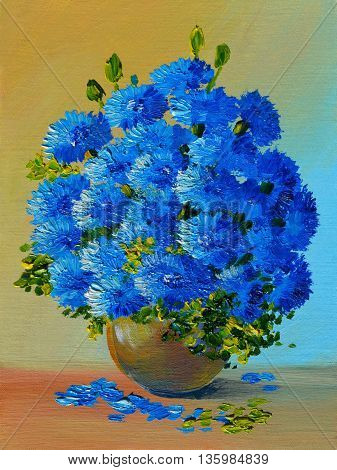 Oil Painting - still life a bouquet of flowers indigo colorful color spring