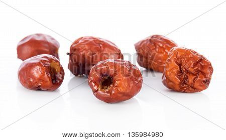 Closeup chinese jujubes isolated on white background