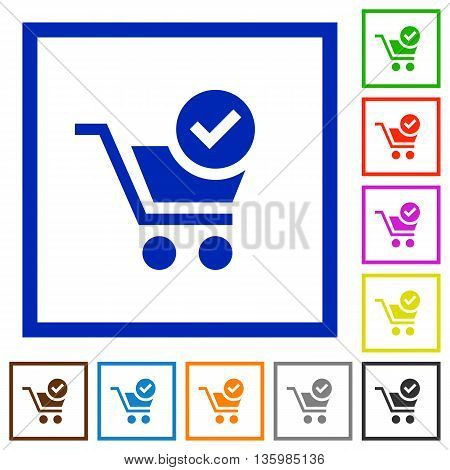 Set of color square framed checkout flat icons