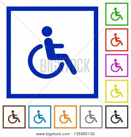 Set of color square framed disability flat icons