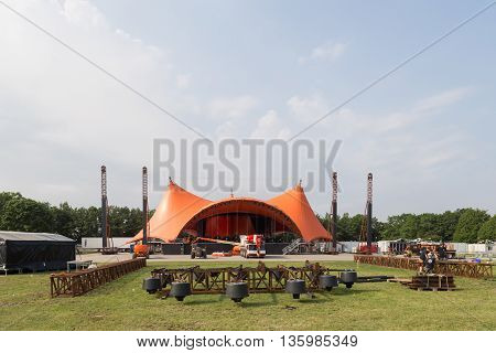 Roskilde, Denmark - June 25, 2016: The orange stage under construction for Roskilde Festival 2016