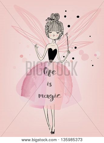 cute cartoon faity girl with pink wings