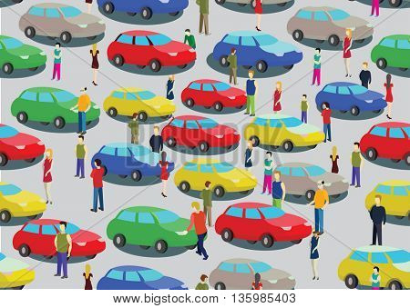 Car traffic jam and people on the road. Seamless vector background.