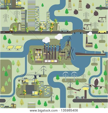 .Seamless pattern map and city infrastructure. Vector illustration