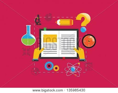 Open book eduction flat design concept. Vector illustration.
