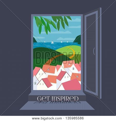 Open door. Seaside panoramic view through open door. Seashore view Concept. Get inspire. Sea beach. Summer travel. Travel advise. Tourist trip. Summer vacation. Travel tips guide. Vector Illustration