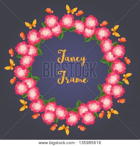 Fancy frame. Wreath from floweres and butterflies. Frame border for photo album. Decorative background for celebration text festive party banner. Template for birthday card. Vector illustration.