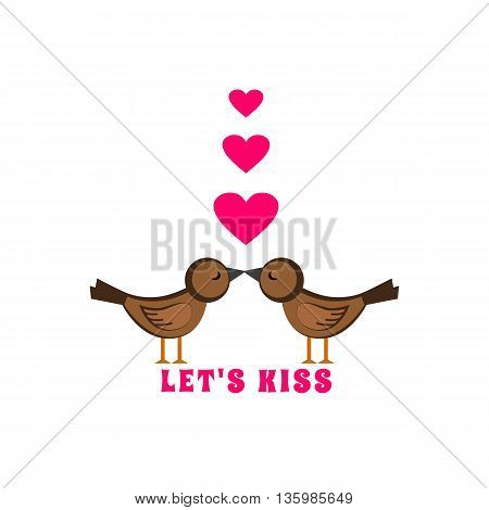 Two kissing birds. World kiss day. Fancy cartoon isolated birds hearts. Decoration for wedding party. Love concept. Romantic sentiment greeting. Design for holiday banner poster. Vector illustration