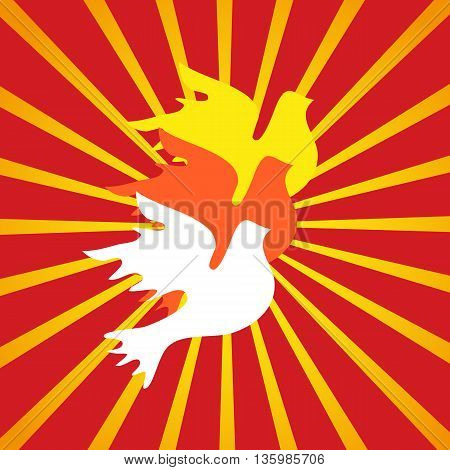 Flying dove. Freedom concept. Peace symbol. Liberty and independence placard. Protest banner. Revolution emblem. Demonstration poster. Vector illustration