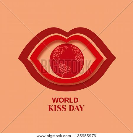 Red kissing lips. World kiss day symbol. Love concept. Mouth close up. Human body parts. Concept design for card, banner, poster, logo. Vector illustration