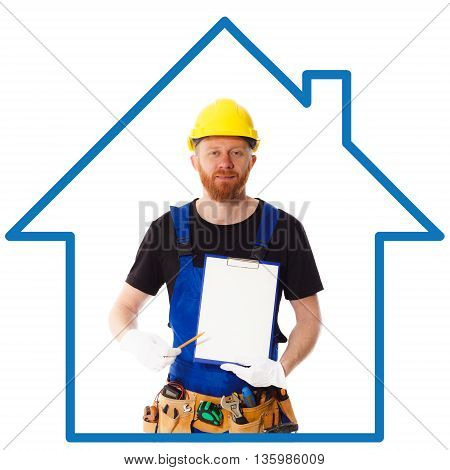Man Builder In The Blue Uniform With Clipboard