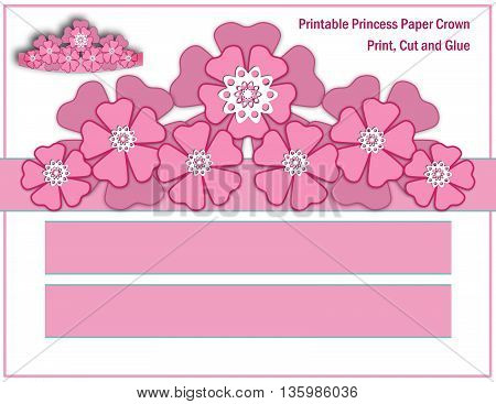 Printable Princess Paper Crown .A floral crown for the young Princess.