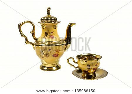 coffee pot maker Cup porcelain yellow gold plated.