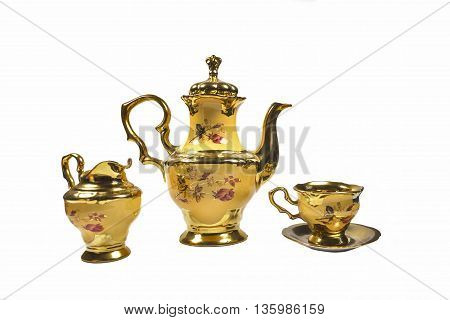 coffee pot maker Cup jug porcelain yellow gold plated.