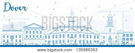 Outline Dover Skyline with Blue Buildings. Vector Illustration. Business Travel and Tourism Concept with Historic Buildings. Image for Presentation Banner Placard and Web Site.