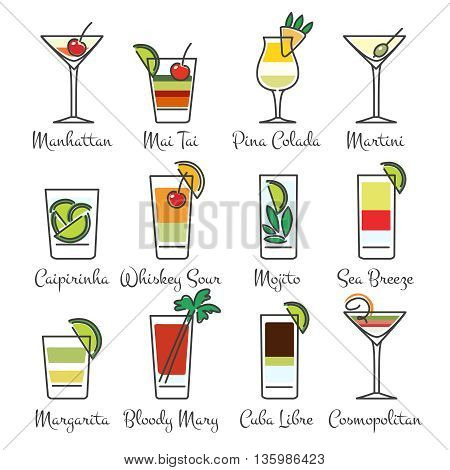 Alcohol cocktails linear icons. Cocktail drinks in line art style. Vector illustration