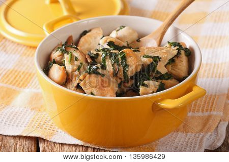 Dietary Food: Chicken Breast Braised With Spinach In A Saucepan. Horizontal
