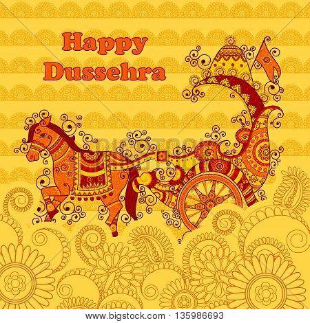 Vector design of Happy Dussehra chariot in Indian art style