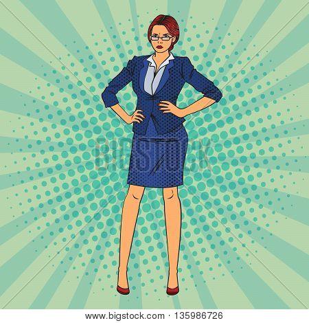 Confident Business Woman. Pop Art. Vector illustration