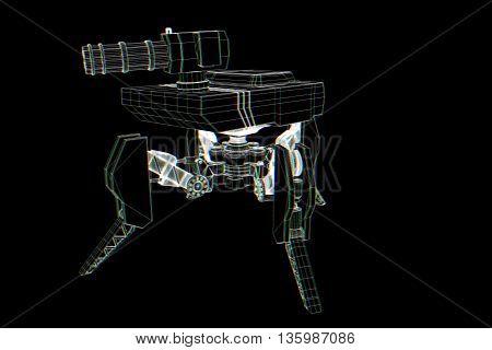 Robot Wireframe Hologram in Motion. Nice 3D Rendering