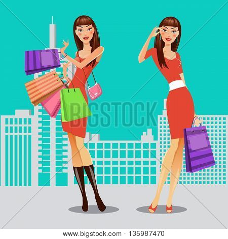 Girls with Shopping Bags. Woman on Shopping. Sale Banner. Vector illustration