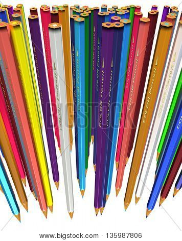 Large group of colored pencils. Colored pencils tightly pressed against each other. Colored pencils stand down tip. Isolated. 3d render.
