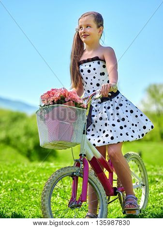 Bikes cycling girl. Child girl wearing white polka dots dress rides bicycle with pink flowers basket. Green and blu sky on background.